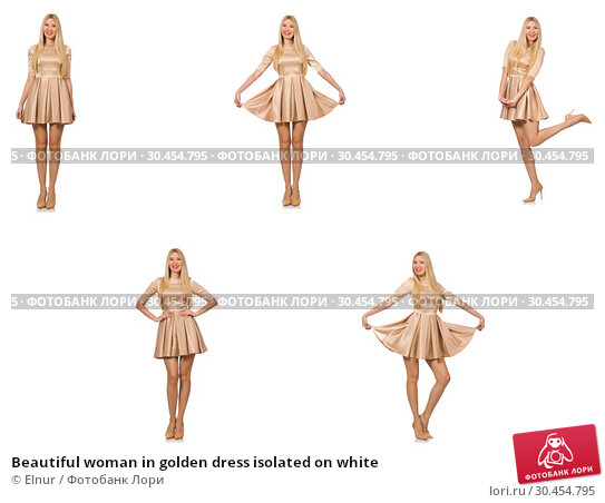 Beautiful woman in golden dress isolated on white. Стоковое фото, фотограф Elnur / Фотобанк Лори