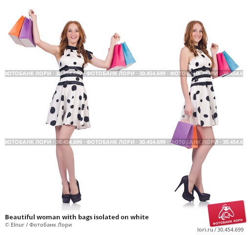 Beautiful woman with bags isolated on white. Стоковое фото, фотограф Elnur / Фотобанк Лори