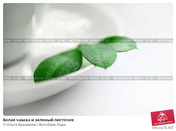 Белая чашка и зеленый листочек, фото № 5167, снято 13 июня 2006 г. (c) Ольга Красавина / Фотобанк Лори