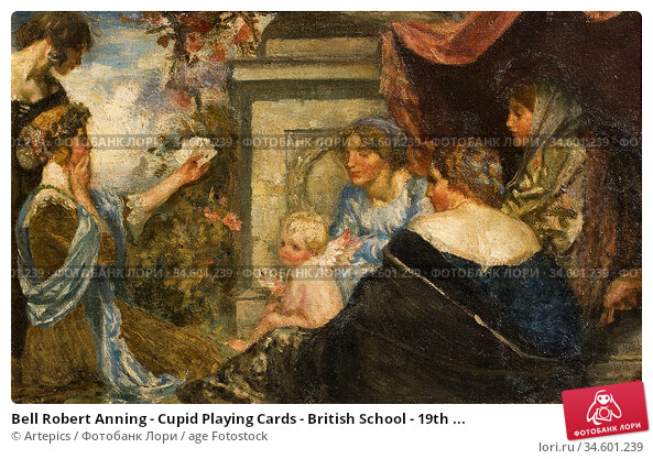 Bell Robert Anning - Cupid Playing Cards - British School - 19th ... Стоковое фото, фотограф Artepics / age Fotostock / Фотобанк Лори