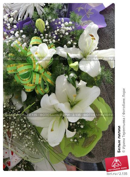 Белые лилии, эксклюзивное фото № 2135, снято 25 июня 2005 г. (c) Ирина Терентьева / Фотобанк Лори