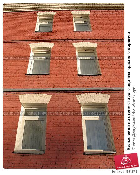 Белые окна на стене старого здания красного кирпича, фото № 158371, снято 23 декабря 2007 г. (c) Анна Драгунская / Фотобанк Лори