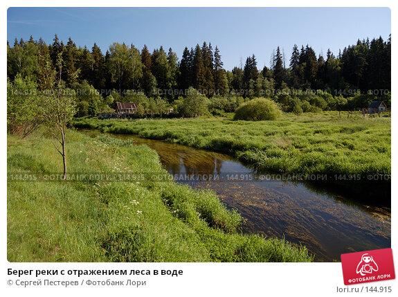 Купить «Берег реки с отражением леса в воде», фото № 144915, снято 3 июня 2007 г. (c) Сергей Пестерев / Фотобанк Лори