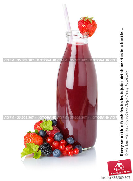 Berry smoothie fresh fruits fruit juice drink berries in a bottle... Стоковое фото, фотограф Markus Mainka / easy Fotostock / Фотобанк Лори