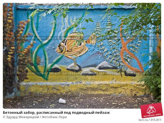 Купить «Бетонный забор, расписанный под подводный пейзаж», фото № 315811, снято 7 июня 2008 г. (c) Эдуард Межерицкий / Фотобанк Лори