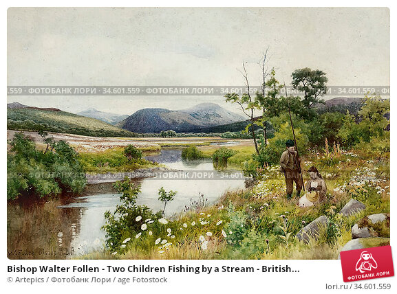 Bishop Walter Follen - Two Children Fishing by a Stream - British... Стоковое фото, фотограф Artepics / age Fotostock / Фотобанк Лори