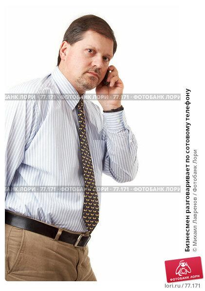 Бизнесмен разговаривает по сотовому телефону, фото № 77171, снято 14 февраля 2007 г. (c) Михаил Лавренов / Фотобанк Лори