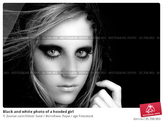 Black and white photo of a hooded girl. Стоковое фото, фотограф Zoonar.com/Oliver Sved / age Fotostock / Фотобанк Лори