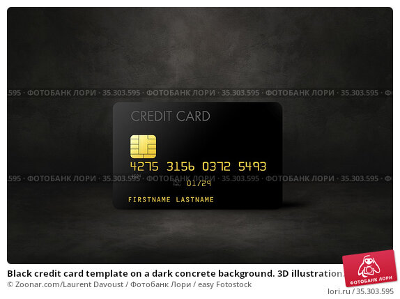 Black credit card template on a dark concrete background. 3D illustration... Стоковое фото, фотограф Zoonar.com/Laurent Davoust / easy Fotostock / Фотобанк Лори