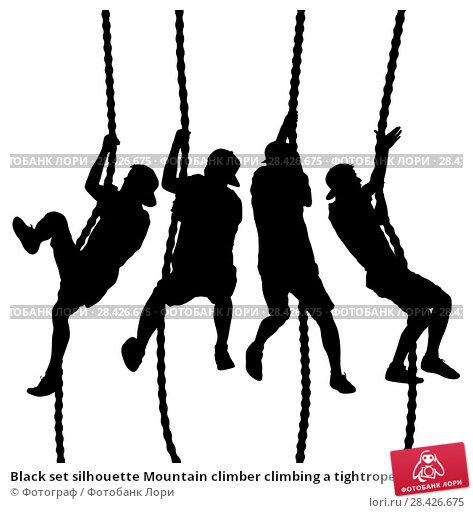 Купить «Black set silhouette Mountain climber climbing a tightrope up on hands», иллюстрация № 28426675 (c) Фотограф / Фотобанк Лори