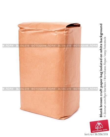 Blank brown craft paper bag isolated on white background. Стоковое фото, фотограф Zoonar.com/Ilya Starikov / easy Fotostock / Фотобанк Лори