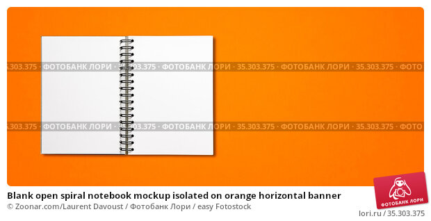 Blank open spiral notebook mockup isolated on orange horizontal banner. Стоковое фото, фотограф Zoonar.com/Laurent Davoust / easy Fotostock / Фотобанк Лори