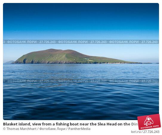 Купить «Blasket island, view from a fishing boat near the Slea Head on the Dingle Peninsula in Ireland with a clear deep blue sky», фото № 27726243, снято 19 апреля 2019 г. (c) PantherMedia / Фотобанк Лори