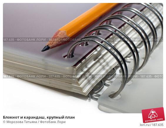 Блокнот и карандаш, крупный план, фото № 187635, снято 29 марта 2007 г. (c) Морозова Татьяна / Фотобанк Лори