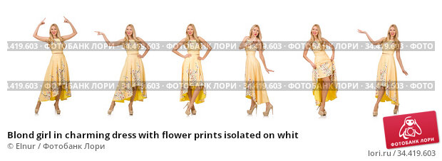 Blond girl in charming dress with flower prints isolated on whit. Стоковое фото, фотограф Elnur / Фотобанк Лори