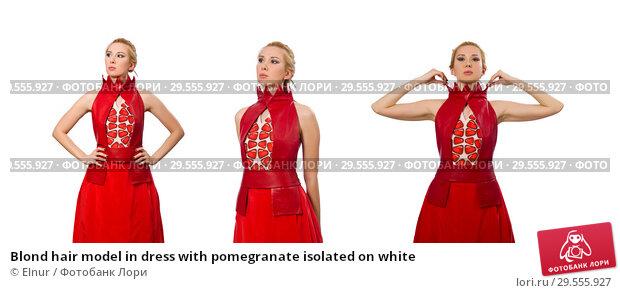 Купить «Blond hair model in dress with pomegranate isolated on white», фото № 29555927, снято 20 марта 2015 г. (c) Elnur / Фотобанк Лори
