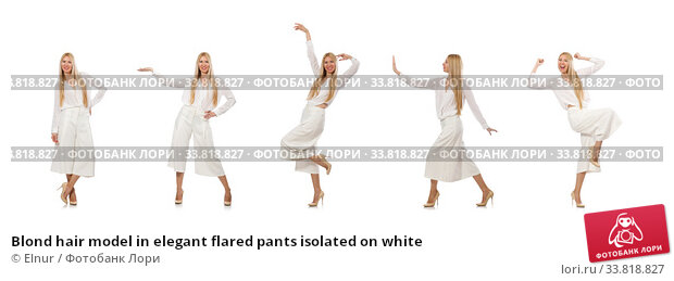 Купить «Blond hair model in elegant flared pants isolated on white», фото № 33818827, снято 7 июля 2015 г. (c) Elnur / Фотобанк Лори