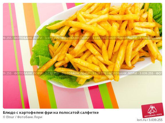Купить «Блюдо с картофелем фри на полосатой салфетке», фото № 3039255, снято 20 августа 2011 г. (c) Elnur / Фотобанк Лори
