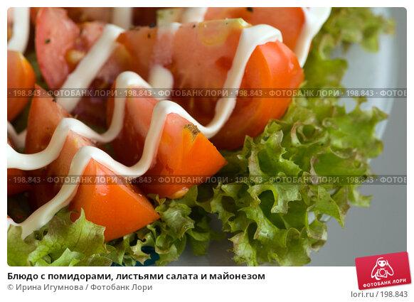 Блюдо с помидорами, листьями салата и майонезом, фото № 198843, снято 12 августа 2007 г. (c) Ирина Игумнова / Фотобанк Лори