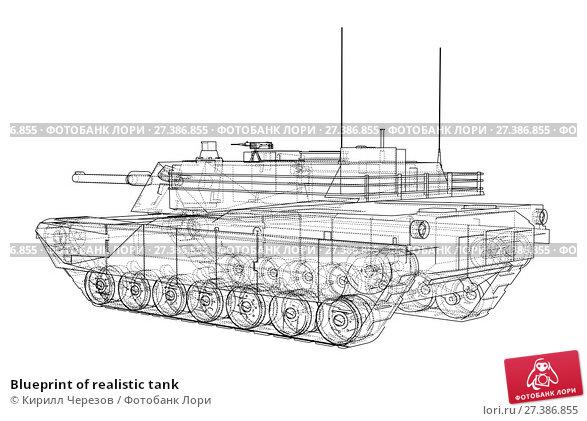 Купить «Blueprint of realistic tank», иллюстрация № 27386855 (c) Кирилл Черезов / Фотобанк Лори