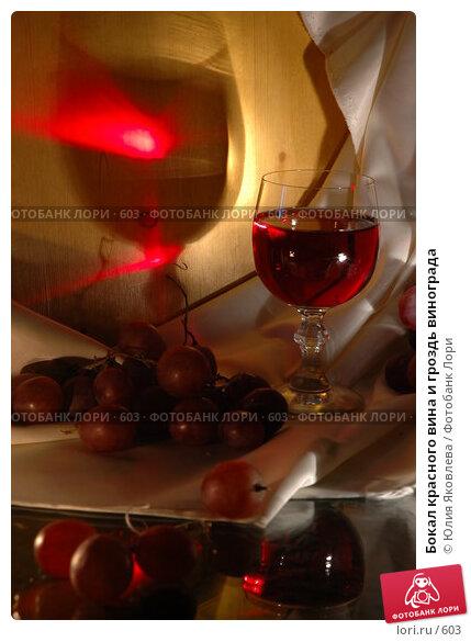 Бокал красного вина и гроздь винограда, фото № 603, снято 12 февраля 2005 г. (c) Юлия Яковлева / Фотобанк Лори