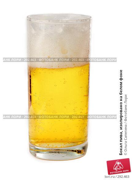 Бокал пива, изолировано на белом фоне, фото № 292463, снято 12 апреля 2008 г. (c) Ольга Сапегина / Фотобанк Лори