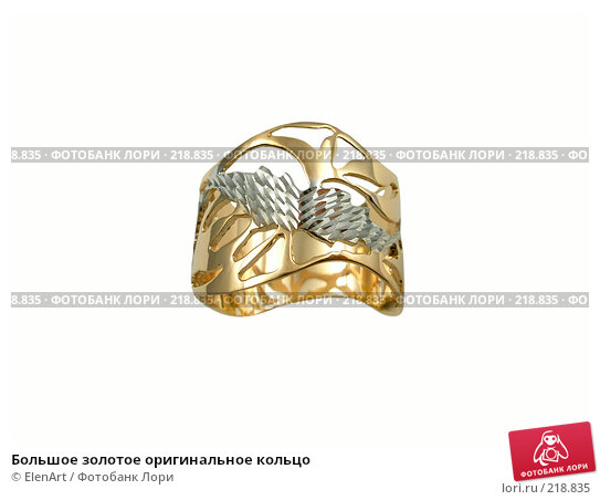 Большое золотое оригинальное кольцо, фото № 218835, снято 19 января 2017 г. (c) ElenArt / Фотобанк Лори