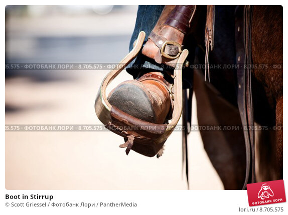 Купить «Boot in Stirrup», фото № 8705575, снято 17 января 2019 г. (c) PantherMedia / Фотобанк Лори