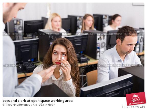 Купить «boss and clerk at open space working area», фото № 7327443, снято 9 апреля 2020 г. (c) Яков Филимонов / Фотобанк Лори