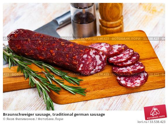 Braunschweiger sausage, traditional german sausage. Стоковое фото, фотограф Яков Филимонов / Фотобанк Лори