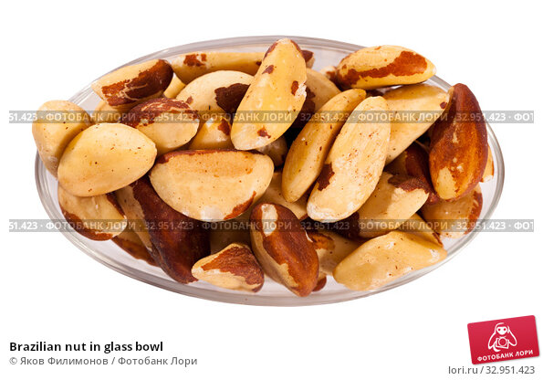 Brazilian nut in glass bowl. Стоковое фото, фотограф Яков Филимонов / Фотобанк Лори