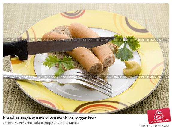bread sausage mustard krustenbrot roggenbrot. Стоковое фото, фотограф Uwe Mayer / PantherMedia / Фотобанк Лори