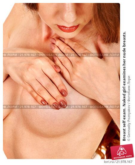 Sexy women doing breast self exam