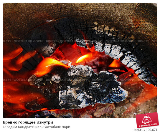 Бревно горящее изнутри, фото № 100671, снято 29 мая 2017 г. (c) Вадим Кондратенков / Фотобанк Лори