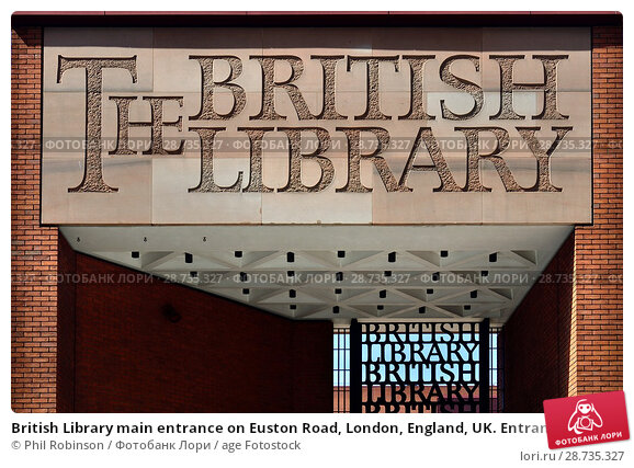 Купить «British Library main entrance on Euston Road, London, England, UK. Entrance gate designed by Lida and David Kindersley.», фото № 28735327, снято 17 мая 2018 г. (c) age Fotostock / Фотобанк Лори