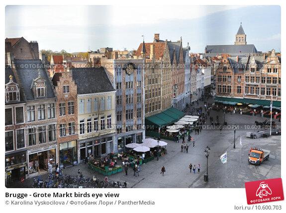 Brugge - Grote Markt birds eye view. Стоковое фото, фотограф Karolina Vyskocilova / PantherMedia / Фотобанк Лори