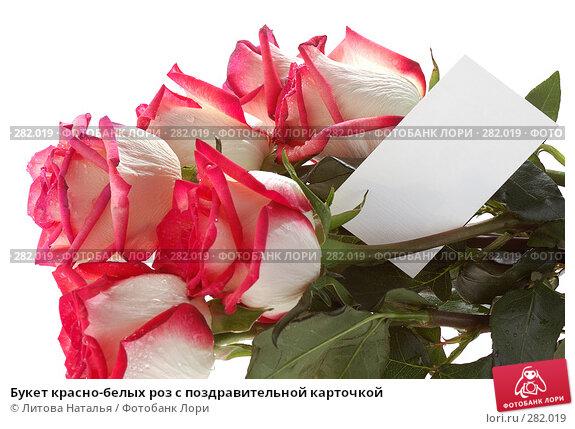 Букет красно-белых роз с поздравительной карточкой, фото № 282019, снято 22 марта 2008 г. (c) Литова Наталья / Фотобанк Лори