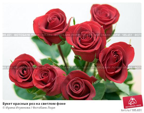 Букет красных роз на светлом фоне, фото № 185651, снято 3 января 2008 г. (c) Ирина Игумнова / Фотобанк Лори