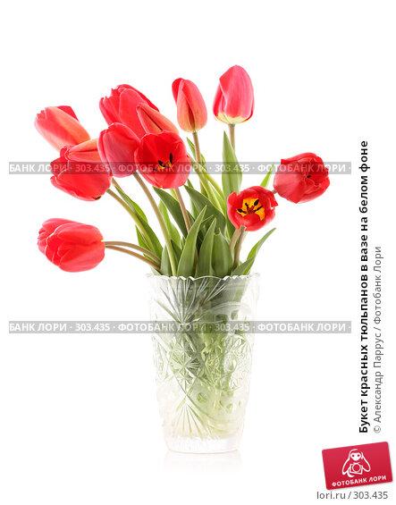 Купить «Букет красных тюльпанов в вазе на белом фоне», фото № 303435, снято 21 апреля 2008 г. (c) Александр Паррус / Фотобанк Лори