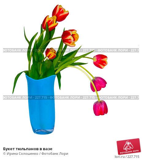 Букет тюльпанов в вазе, фото № 227715, снято 10 марта 2008 г. (c) Ирина Солошенко / Фотобанк Лори