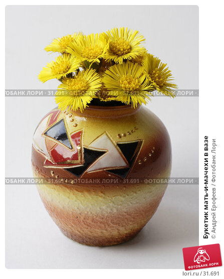 Букетик мать-и-мачехи в вазе, фото № 31691, снято 11 апреля 2007 г. (c) Андрей Ерофеев / Фотобанк Лори
