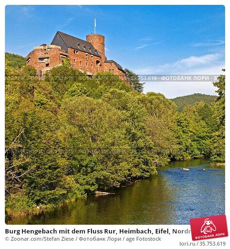 Burg Hengebach mit dem Fluss Rur, Heimbach, Eifel, Nordrhein-Westfalen... Стоковое фото, фотограф Zoonar.com/Stefan Ziese / age Fotostock / Фотобанк Лори