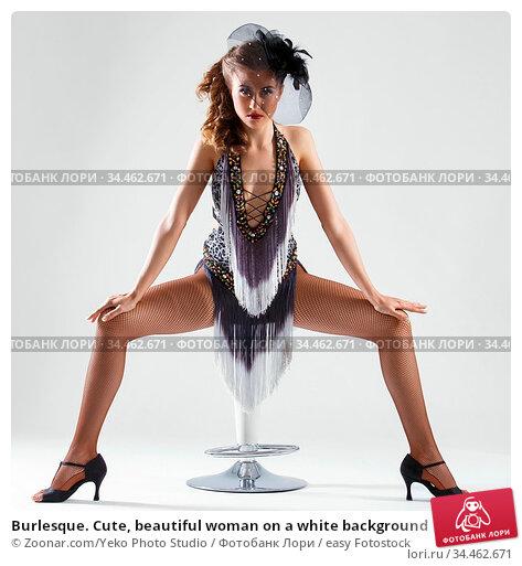 Burlesque. Cute, beautiful woman on a white background. Стоковое фото, фотограф Zoonar.com/Yeko Photo Studio / easy Fotostock / Фотобанк Лори