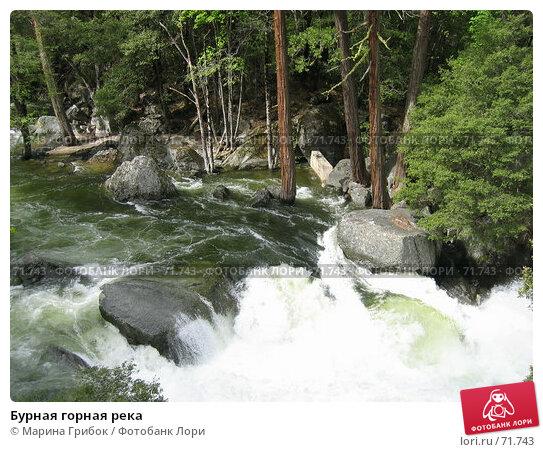 Бурная горная река, фото № 71743, снято 27 мая 2006 г. (c) Марина Грибок / Фотобанк Лори