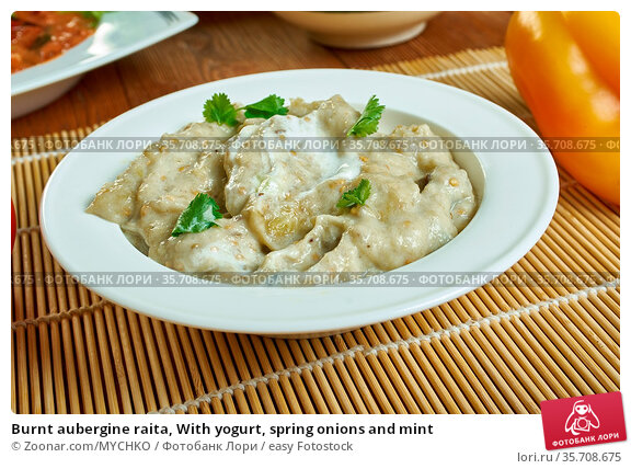Burnt aubergine raita, With yogurt, spring onions and mint. Стоковое фото, фотограф Zoonar.com/MYCHKO / easy Fotostock / Фотобанк Лори