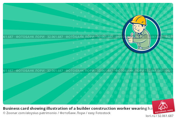Business card showing illustration of a builder construction worker wearing hardhat thumbs up looking to the side set inside circle on isolated background done in retro style. Стоковое фото, фотограф Zoonar.com/aloysius patrimonio / easy Fotostock / Фотобанк Лори