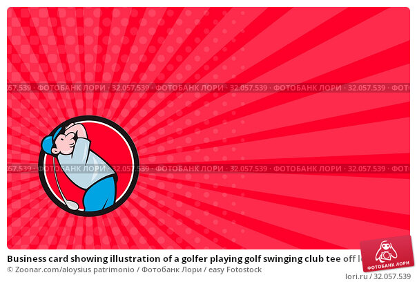 Business card showing illustration of a golfer playing golf swinging club tee off looking up viewed from the side et inside circle on isolated background done in cartoon style. Стоковое фото, фотограф Zoonar.com/aloysius patrimonio / easy Fotostock / Фотобанк Лори
