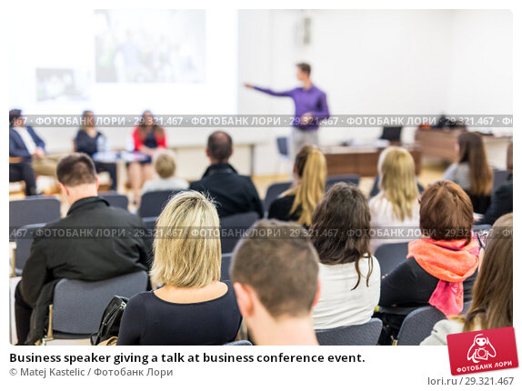 Купить «Business speaker giving a talk at business conference event.», фото № 29321467, снято 24 января 2019 г. (c) Matej Kastelic / Фотобанк Лори