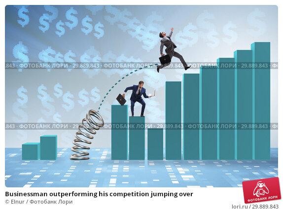Купить «Businessman outperforming his competition jumping over», фото № 29889843, снято 21 февраля 2019 г. (c) Elnur / Фотобанк Лори