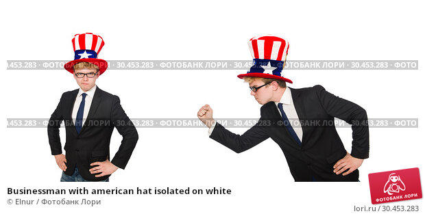 Businessman with american hat isolated on white. Стоковое фото, фотограф Elnur / Фотобанк Лори